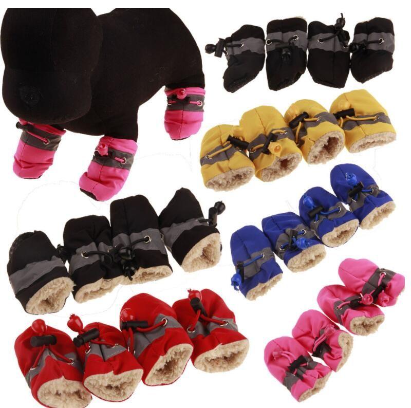 Cães 4 Pçs / set Quente para o Cão Botas de Caxemira Dog Sapatos de Chuva de Cachorro Sneakers Pet Suprimentos Atacado Sapatos Antiderrapantes
