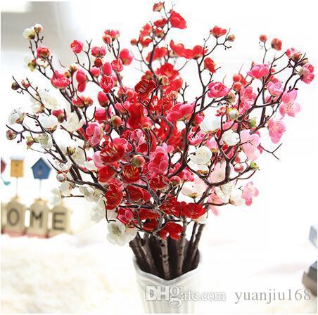 인공 꽃 체리 봄 매화 복숭아 꽃 지점 60cm 실크 꽃 나무 꽃 봉오리 결혼식 파티 Decors GB537