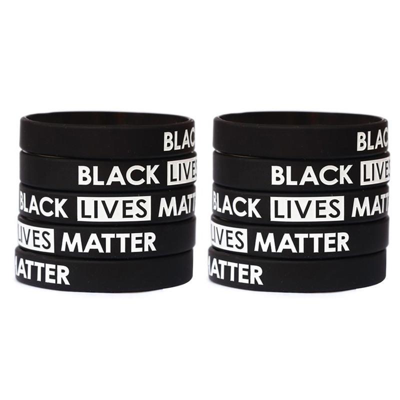 Черный Lives Matter браслет силиконовый браслет Женщины Мужчины Мужская Резиновые браслеты браслеты браслеты благосклонности партии 200шт T1I2059