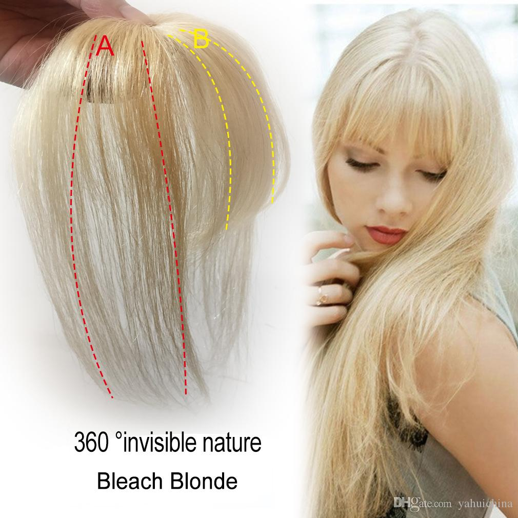 Bleach Blonde Bangs Hair clip 3D Fringe Bangs Human Hair Topper Extension Clip In Crown Hairpiece for Women short angle Brown