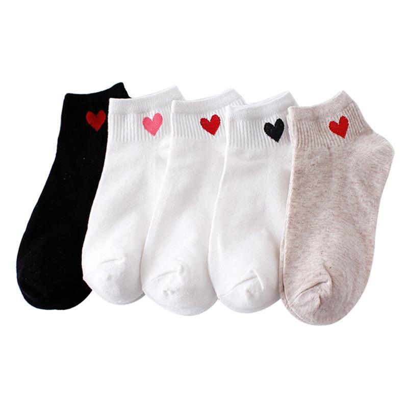 10pcs = 5pairs Femmes Chaussettes courtes coeur rouge mignon Collège frais Femme Chaussettes Coton Eté Automne Vente chaude Filles Sock Meias Sox