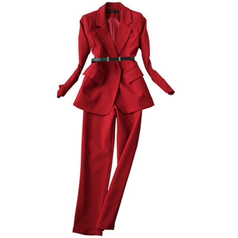 Nove pantaloni a due pezzi donne abito femminile rosso vino Pant donne vestito di autunno vestito nuovo nastro temperamento di alta qualità + vita alta