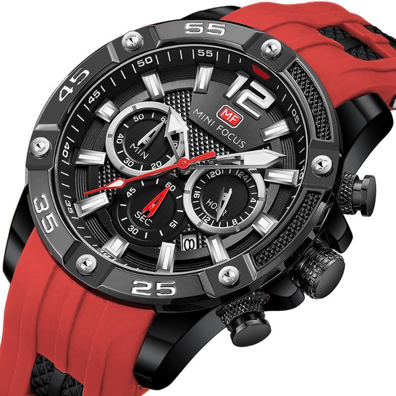 MINI FOCUS Mode Sport Montre Homme étanche Hommes Montres Top Quartz Relogio Masculino Reloj Hombre Bracelet en silicone