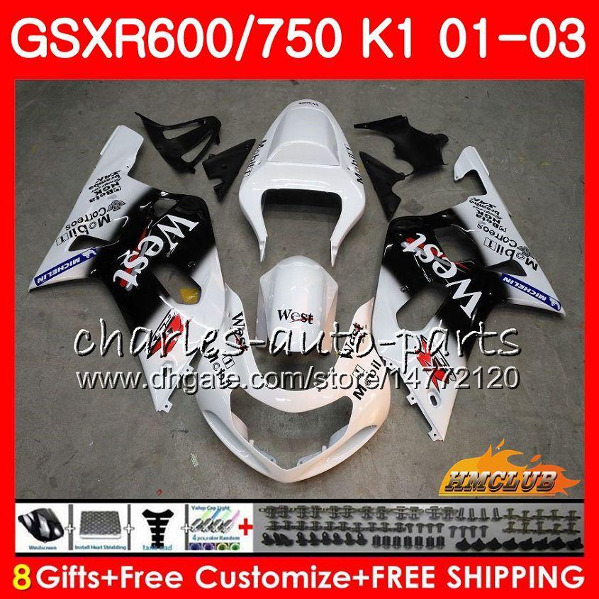 8Gifts 바디 스즈키 GSXR 600 750 GSXR600 2001 2002 2003 4HC.75 GSX R750 GSXR600 화이트 서쪽 뜨거운 GSXR750 K1 GSXR750 01 02 03 페어링 키트