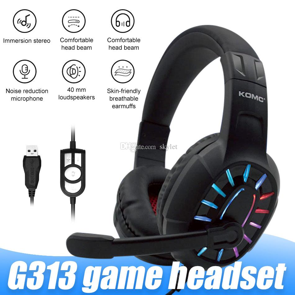 G313 Gaming Headset with Stero Sports Eearphones for PC Laptop with Microphone Noise Cancelling in Box