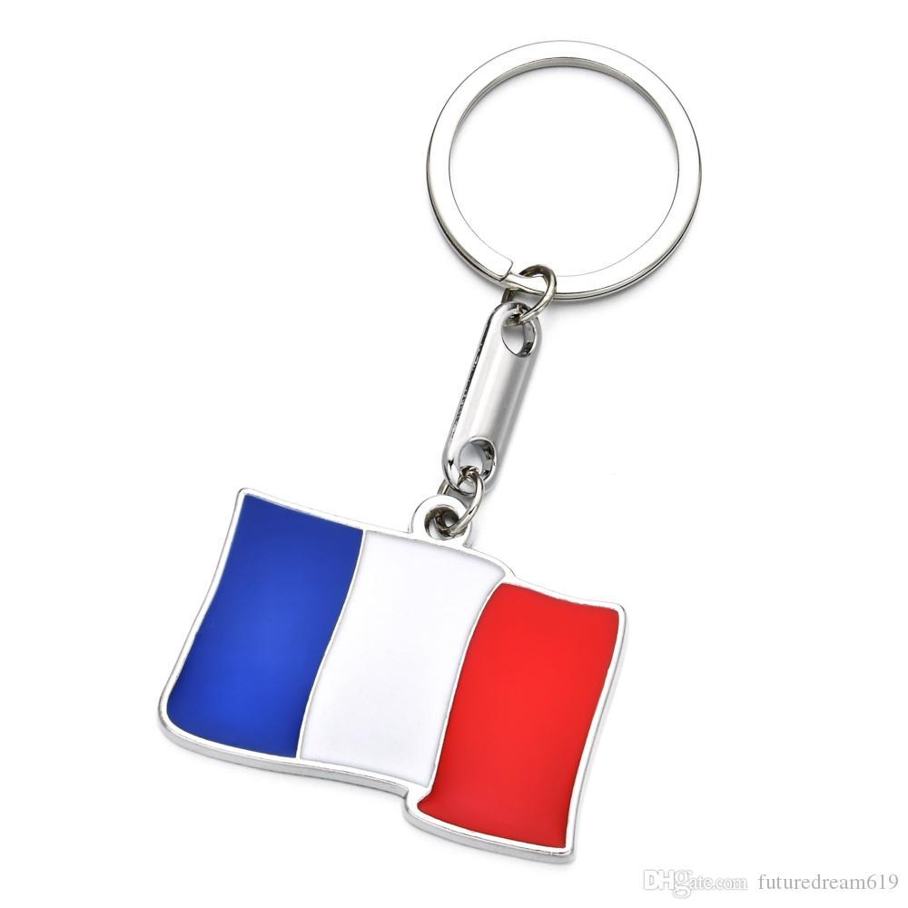 França KeyRing liga de zinco Bandeira nacional de viaturas chaveiro para turistas Homens de viagem de lembrança Car Key Pendant Cheap Wholesale