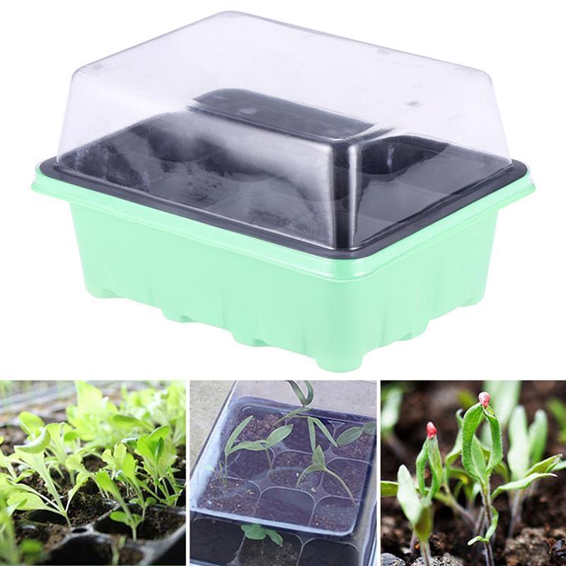 18x14x6CM Garden Planter pot verde Tabuleiro para germinação Sprout placa de 12 Cells Nursery Pots bandeja com Transparente Tampas Box para jardinagem