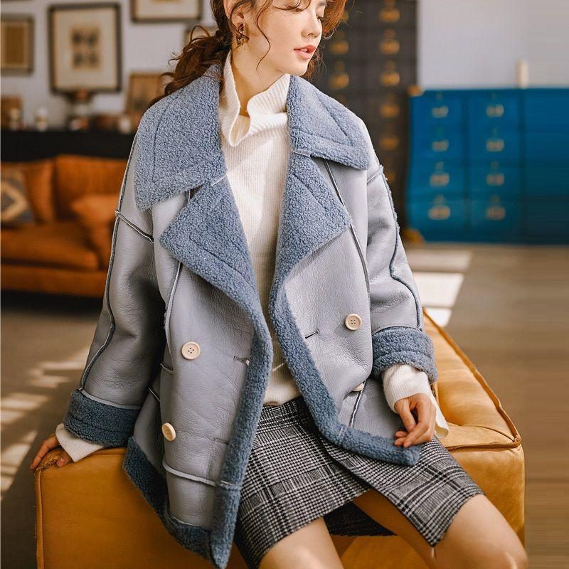 Damen Leder Faux Original Design Winter Warme Mantel Frauen Künstliche Lammwolle Pelette PU Jacke