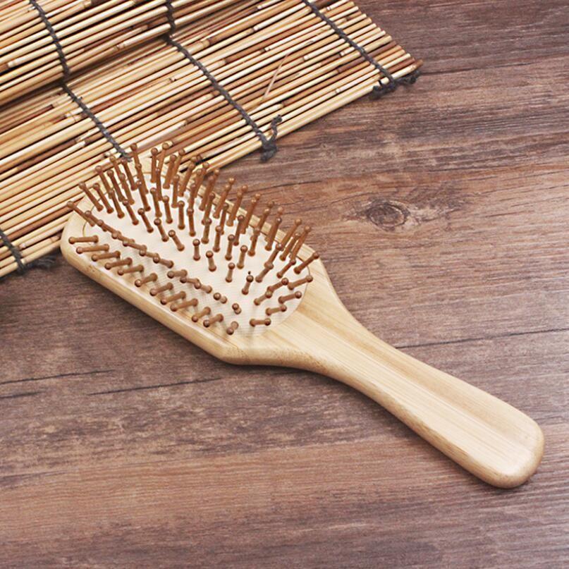 Vente chaude Femmes Tête Ronde Tête De Bambou Brosse À Cheveux Anti-statique Peignes En Bois Soins Des Cheveux et Beauté SPA Massage Peigne LX5864