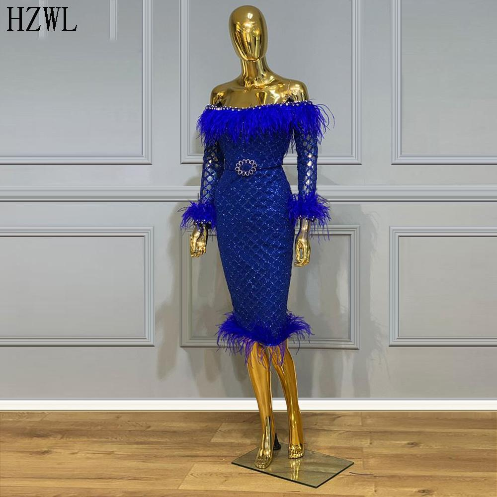Royal Blue Knee Length Cocktail Dresses Mermaid Long Sleeve Sparkly Prom Dresses 2020 Feathers Party Gowns Vestidos