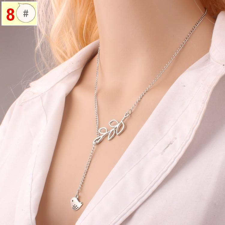 Internet Explosion European and American Short Chain 8-character Cross Bird Leaf Double-layer Necklace Jewelry Free of Freight