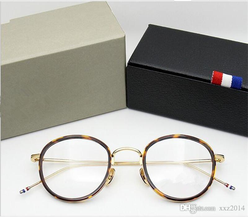 أزياء tb905 أنثى samll وجه كبير جولة النظارات النظارات إطار فائقة ضوء الأزياء وصفة طبية القضية كاملة مجموعة freeshipping