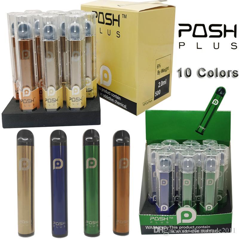 Dispositivo Posh Além disso descartável Vape Pen Kits 10 cores 2,0 ml Pods cartuchos de 450mAh Bateria vaporizador Pens cigarros eletrônicos Kit Esvaziar