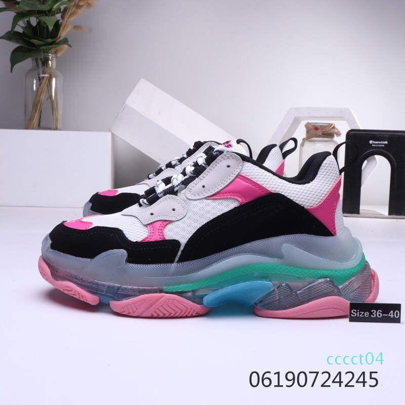 NFactory gros 2019 Chaussures femmes Casual Triple S Sole Effacer Vintage Fashion Kanye West Old Papy Formateurs de luxe de 36-40 04ct
