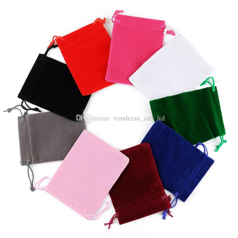 5 * 7cm kadife ipli çanta Hediye çanta Floklu telefon çanta Takı çantası 100pcs Toptan