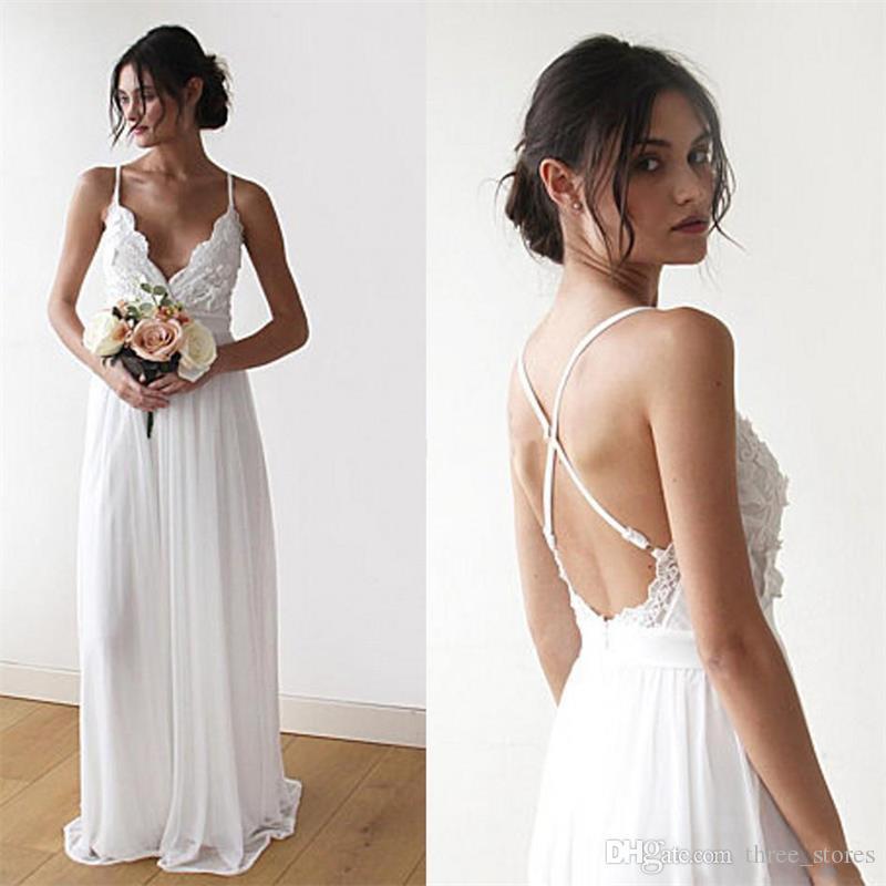 Casamento elegante venda Drees 2020 Praia Bride Dress Chiffon Lace apliques Backless baratos Hot Plus Size