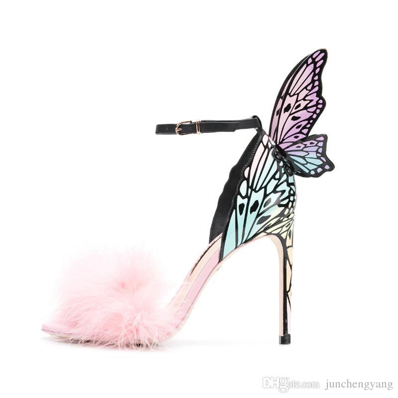 Rosa de pelo de avestruz Sexy Tacones altos Sandalias Mujeres Verano Color Mariposa Alas Estilete Partido Novia Vestido Zapatos Mujeres
