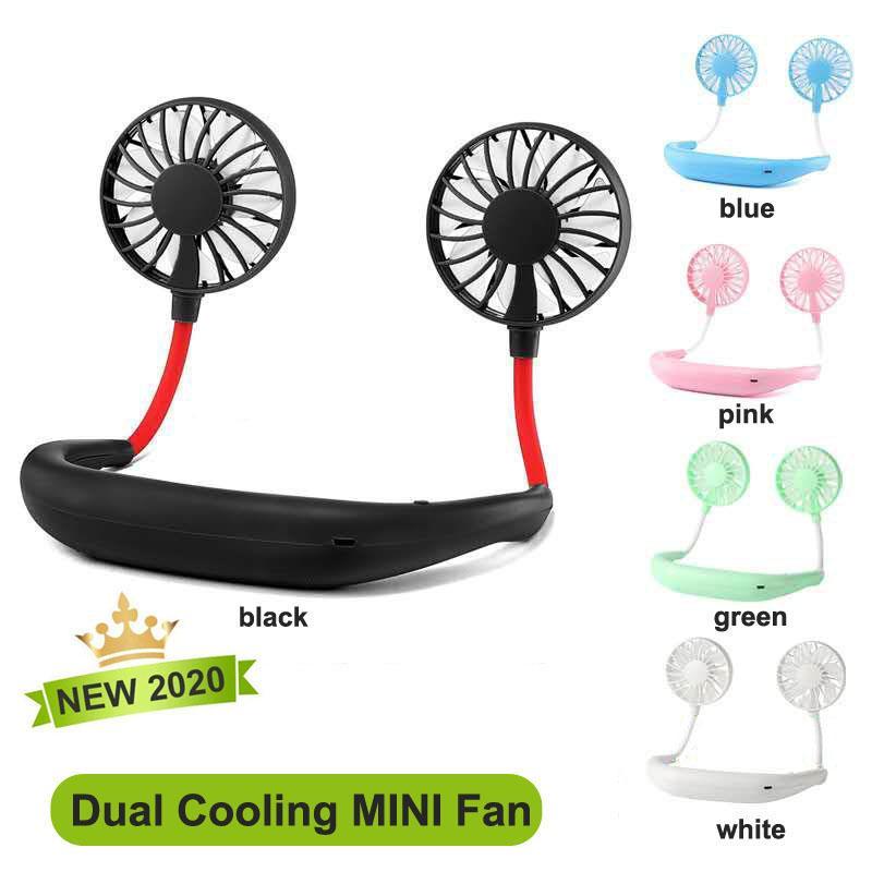 2020 Taşınabilir USB Şarj Edilebilir Boyunbaz Tembel Boyun Asılı Çift Soğutma Mini Fan Spor 360 Derece Dönen Asılı Boyun Fan Perakende Kutusu