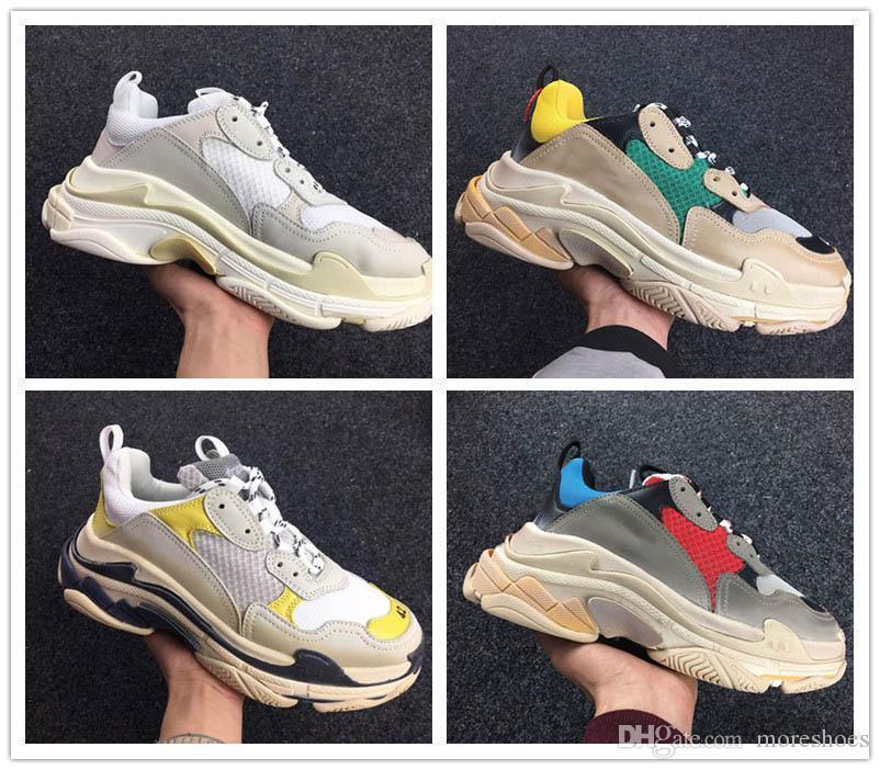 Triple S Designer Casual Shoes Paris 17FW Low Old Dad Sneaker Combinaison Soles Hommes Femmes Beige Entraîneur Blanc Taille 36-45