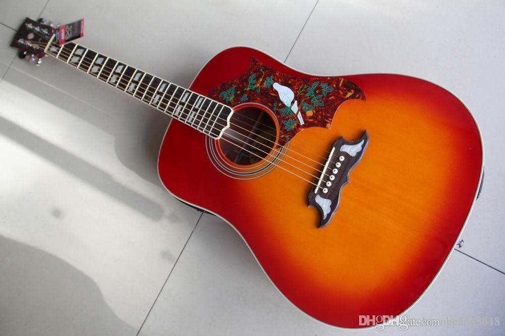 Livraison gratuite Gibsondove Modèle Dove acoustique guitare électrique Fait de érable massif sapin Top, de haute qualité Cherry Burst 120130