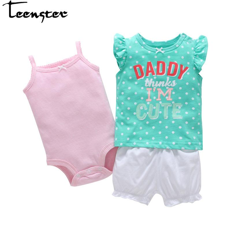 Teenster Baby Girl Clothes Bodysuit&shirt&shorts Newborn Infant Kids Clothing Set Cotton Flower Toddler Vetement Enfant Fille J190520