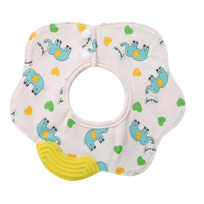 1pc Cotton Bibs with Silicone Teether Cartoon Burp Cloths BPA Free Baby Stuff Things Silica Gel Teether Bib Ring Saliva Towel