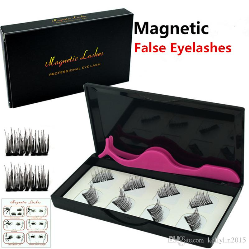 자기 가짜 속눈썹 8 PC / Set invisible magnet 3D 밍크 속눈썹 핀셋 두꺼운 풀 스트립 가짜 속눈썹 눈 속눈썹