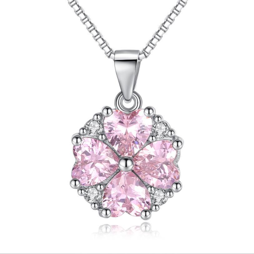 Silber Farbe Liebe Herz Halsketten Anhänger Rosa Zirkonia Für Frauen Hochzeiten Braut Party Beste Schmuck Geschenk für Damen
