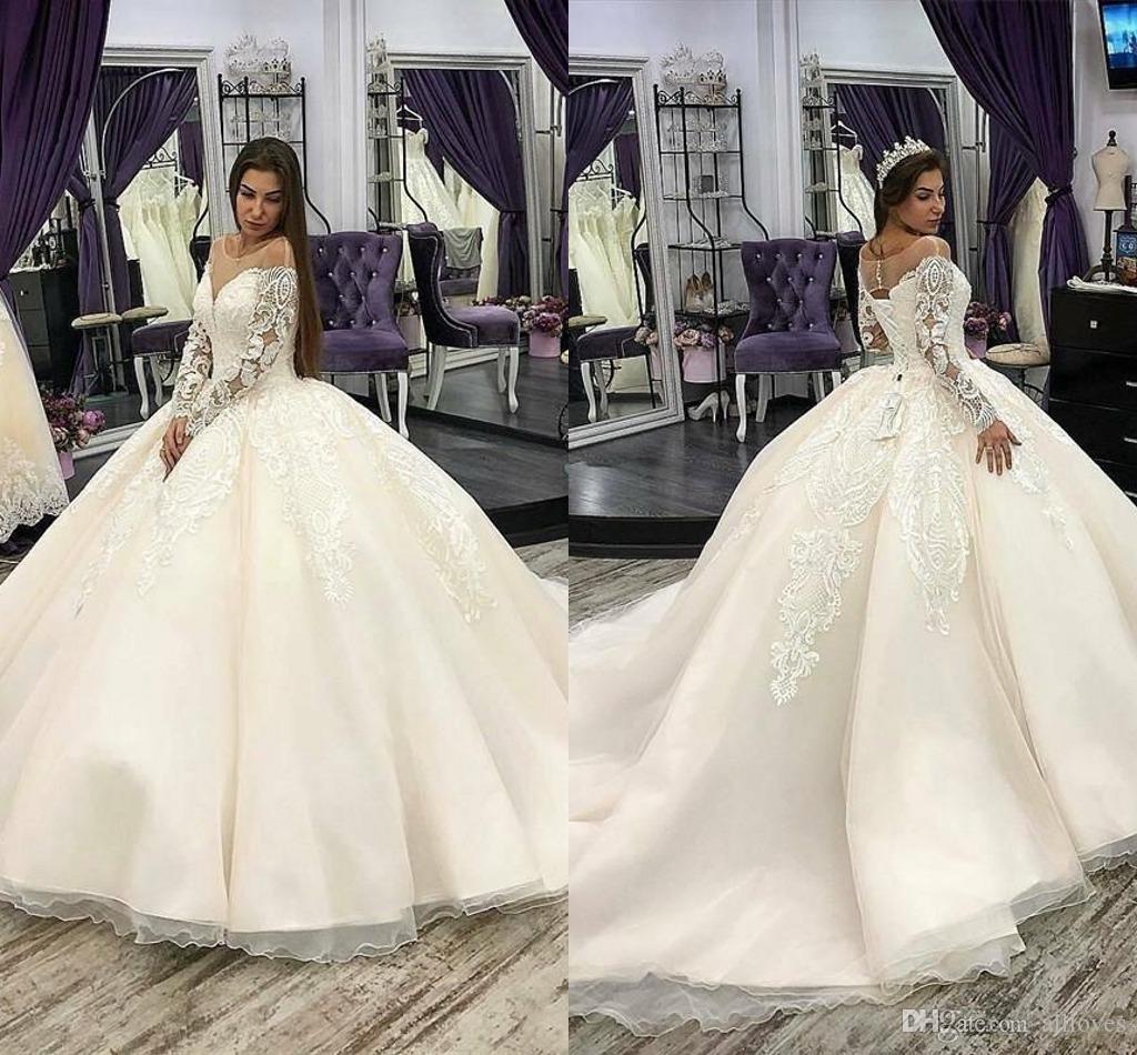 Plus Size Vintage Vestido de Bola Árabe Vestidos de Noiva 2020 Lace Appliqued Manga Longa Vestidos Noiva Sheer Scoop Pescoço Varredura Vestidos Al3498