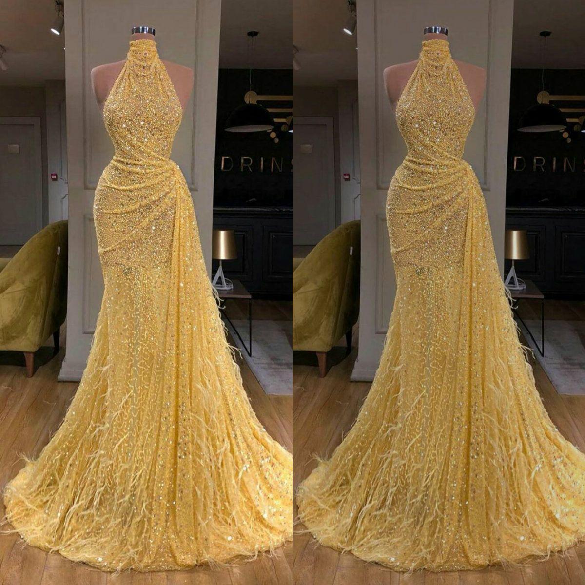 Heißer Verkauf 2020 Glitter Meerjungfrau Abendkleider Sexy High-Neck Sleeveless Pailletten Feder Prom Dress Sweep Train Besondere Anlässe Kleider