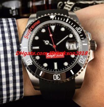 Última versión Men Watch Wristwatch 40mm Negro Green Dial 116610 Correa de goma Cerámica Bisel 2813 Reloj automático de lujo envío gratis