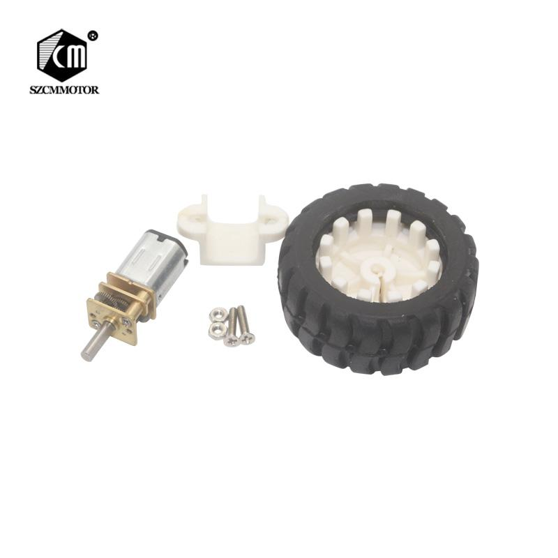 10 pcs n20 mini motor engrenado com roda kit para robô diy