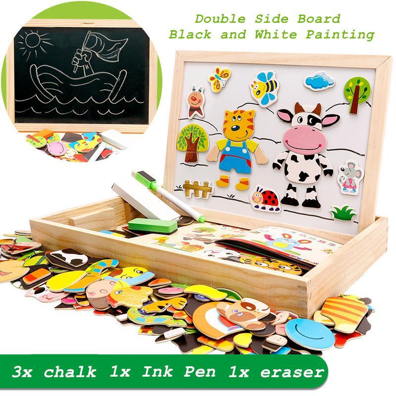 100 + PC aus Holz Magnet Puzzle Spielzeug Kinder 3D Puzzle Figur Tiere Vehicle Circus Zeichenbrett 5 Styles Lernen Holzspielzeug Y200317