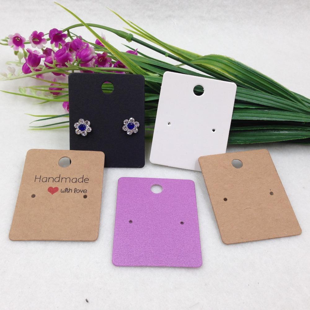 200pcs 5 * 4cm ورق الكرافت اليدوية مع الحب بطاقات القرط هدية بطاقة عرض المجوهرات ، والقرط بطاقة التعبئة