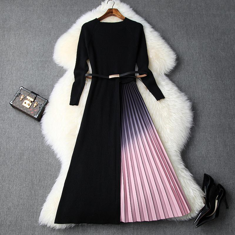 2019 NOUVEAU élastique robe plissée robes pull vintage de Noël à tricoter manches plein automne Splicing Femmes Winter Party Dress