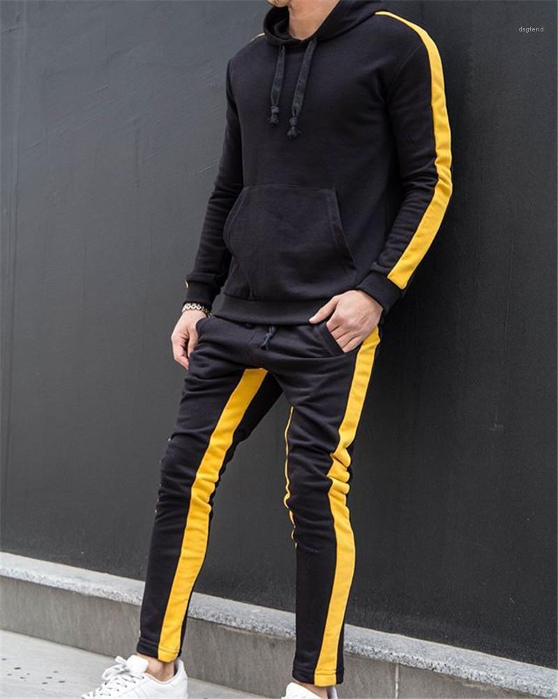 Твердые штаны Фитнес Спорт Мода Stripeed Тонкий брюки обшитую панелями Повседневный Спортивный Jogger Брюки с Drawstring Mens