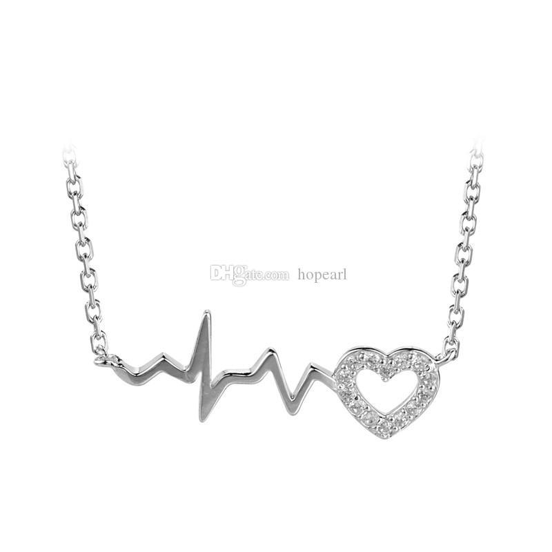 collar de plata de ley maciza amor Latido del corazón cardiograma de óxido de circonio cúbico elegante joyería regalos para mujeres niñas