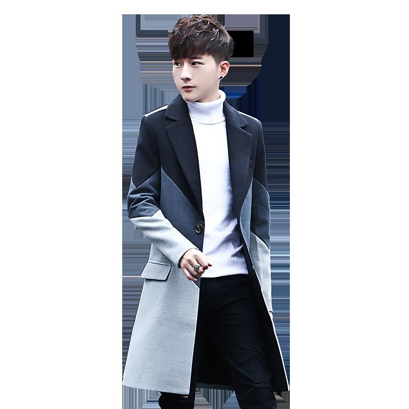 Новые мужские заплатки Длинные пальто куртки Стильный мужчина вскользь куртка Тонкий красивый Горячие продаж Удобная Мужчины Trench S M-3XL