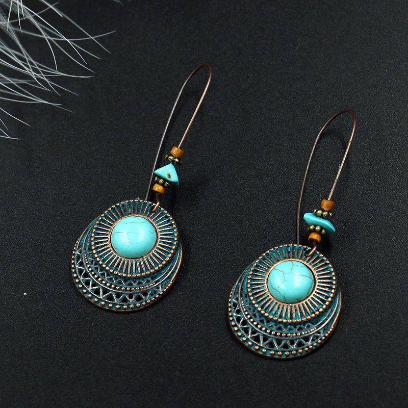 Boucles d'oreilles Vintage Vintage Hot Bohemian bijoux de femmes évider grande oreille crochet Dangle boucles d'oreilles S506
