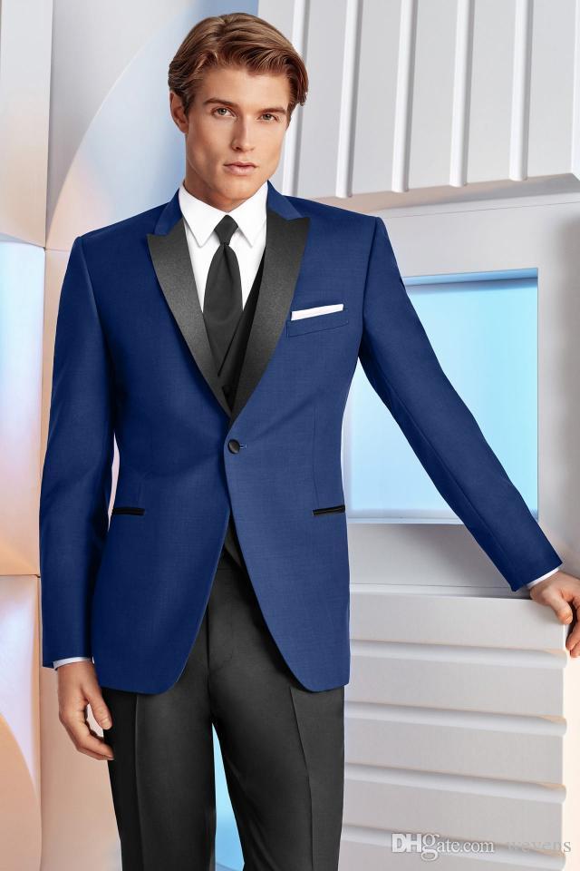 Сшитое Royal Blue Мужские костюмы для свадебных Slim Fit Groomsmen Tuxedos Три пьесы Красивый свадебный костюм (куртка + брюки + жилет + галстук)