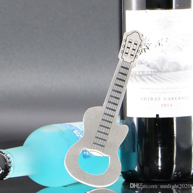 سبائك الزنك فتاحة زجاجات الإبداعية الفضة الغيتار حلقة مفاتيح سلسلة معدنية بار النبيذ البيرة فتاحة كاب حلية اكسسوارات بار