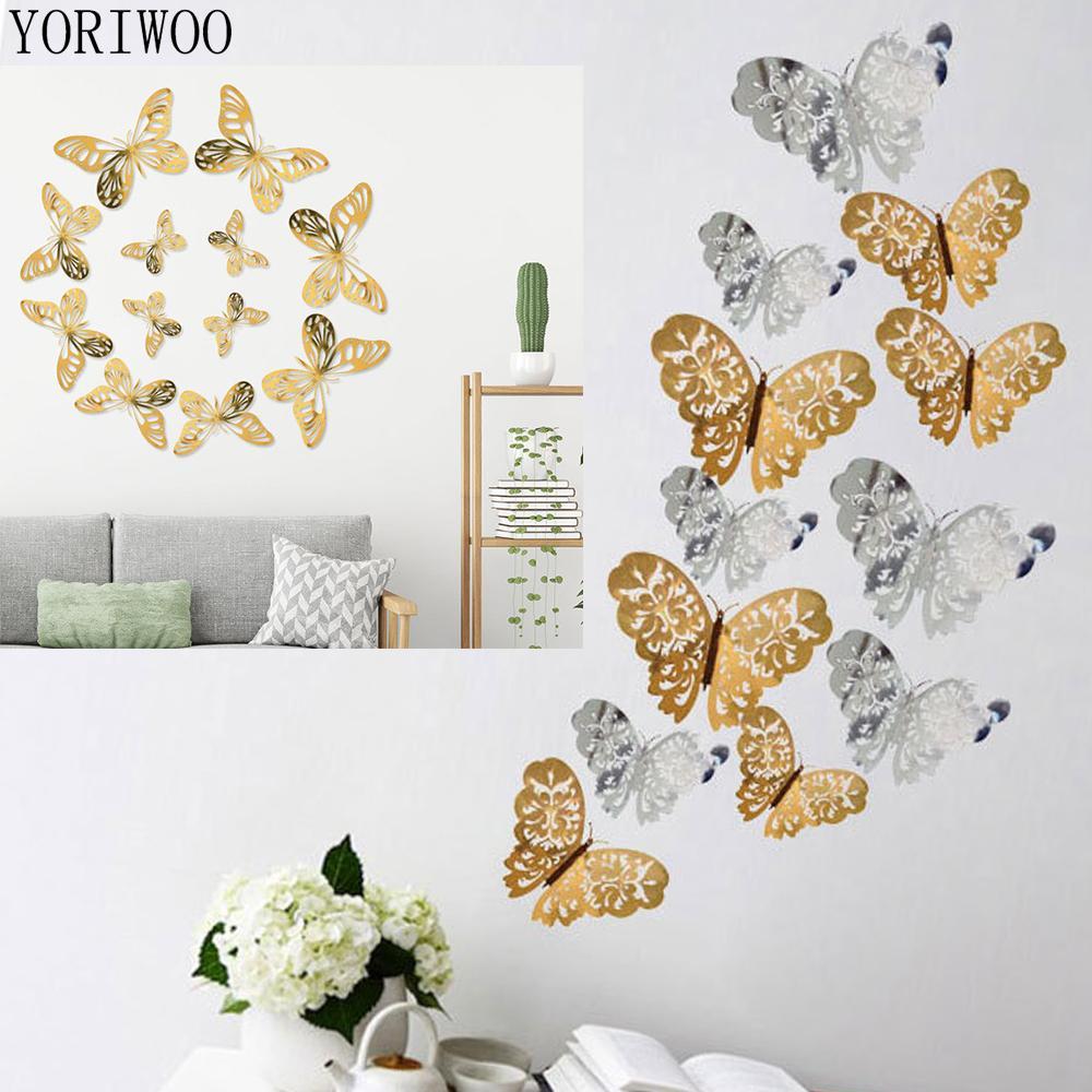 YORIWOO 12шт 3D наклейки стены бабочки Hollow обои для Wall Таблички Котировки Art Mural Домашнее украшение Спальня Кухня