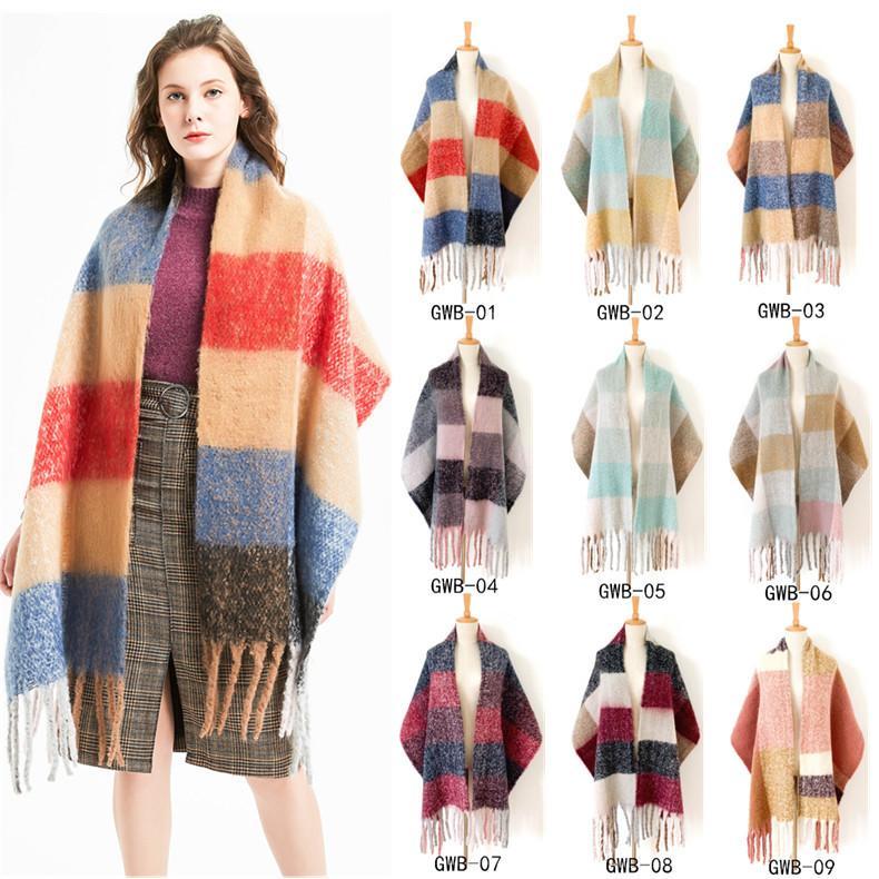 TooTu Womens Fall Winter Scarf Classic Tassel Plaid Scarf Warm Soft Chunky Large Blanket Wrap Shawl Scarves Triangle