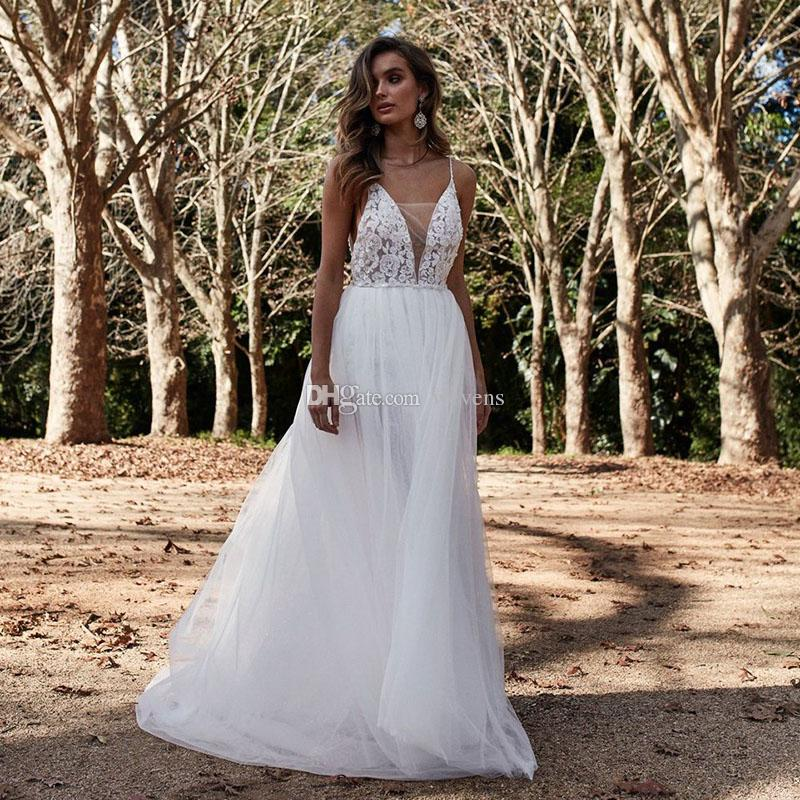 Simple Beach Wedding Dresses Spaghetti Strap Pearls Appliques Tiered Skirt Bohemian Wedding Gown Plus Size Robe de mariage