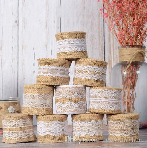Retro Natural Burlap Lace Rustic Jute Garland Hessian Ribbon Roll Wedding Supply