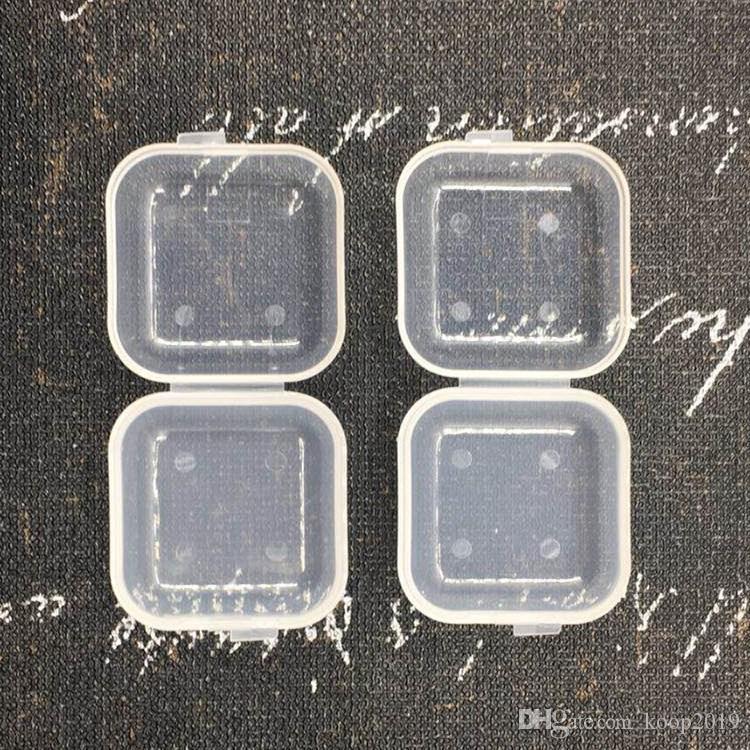 1000pcs / lot Platz Mini-Kunststoff-Lagerbehälter löschen leeren Kasten-Kasten mit Deckel Kleine Box Schmuck Earplugs Storage Box 3.5 * 3.5cm