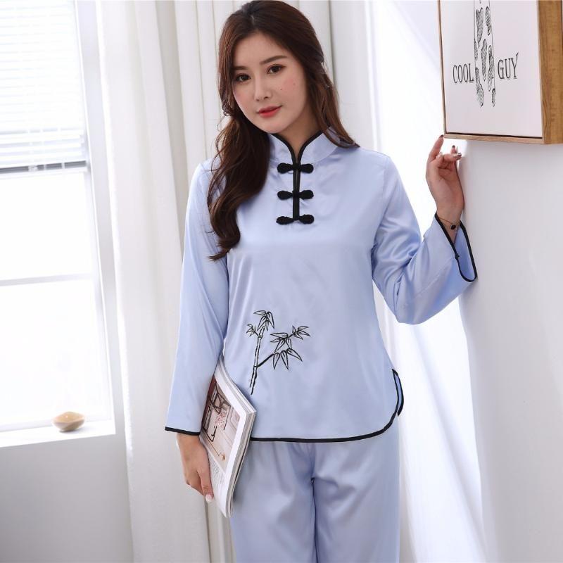 Blu 2PCS Sexy Lady ShirtPant Pigiama Suit Cinese tradizionale donne Pajamas Set 2018 Primavera Autunno indumento da notte da notte di M-XXL