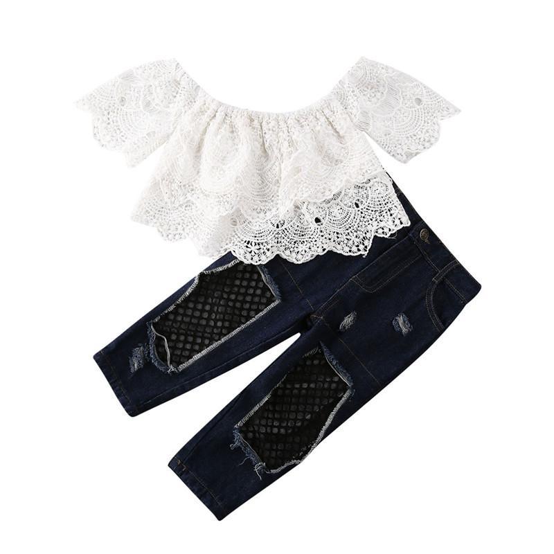 Yenidoğan Çocuk Kız Bebek Giyim Kapalı Omuz Dantel Çiçek + Jeans Denim Pants 2PCS Casual Kıyafet İlkbahar Yaz 2-7T Tops