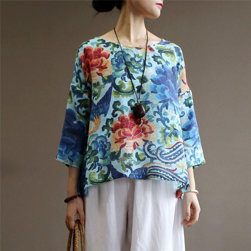 T-shirt das mulheres Johnature Tops de verão para as mulheres 2021 Linho de algodão vintage Solto confortável impressão O-pescoço batwing manga camisetas