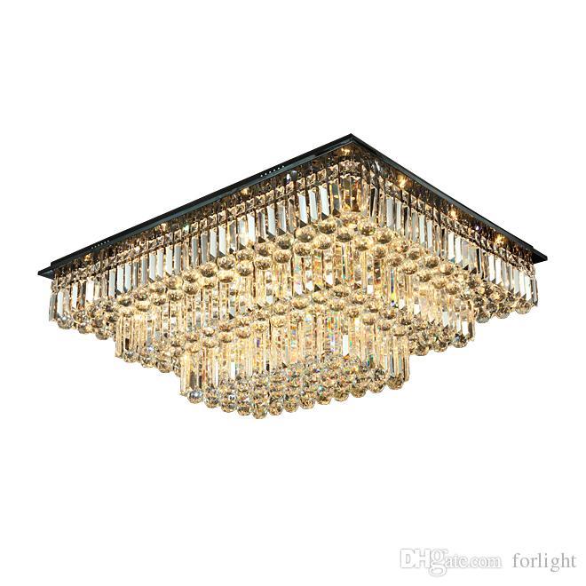 New design dimmable rectangle crystal ceiling chandelier lighting modern luxury flush mount chandeliers light for living room bedroom decor